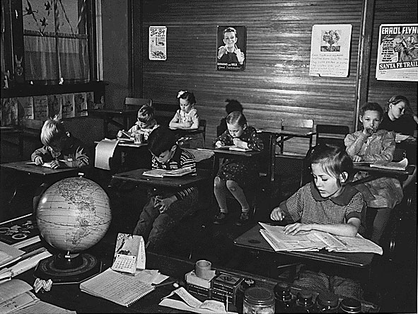 Even as late as the 1950s many small or rural communities in the U.S. had one-room schoolhouses.  Lessons were individualized, since classes included children of different ages.