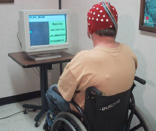 This brain-computer interface (BCI) system assists paralyzed patients by detecting the brain's electrical activity and translating wave patterns into commands like moving a cursor on a computer screen.