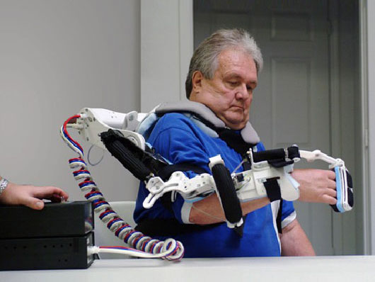 The Robotic Upper Extremity Repetitive Therapy device, or RUPERT, helps stroke survivors retrain their muscles to perform basic tasks. As the patient's improve, the robot adjusts the assistance it delivers.