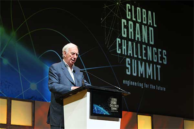 C. D. Mote, Jr., President of the National Academy of Engineering, delivers the closing remarks of the 2017 Global Grand Challenges Summit